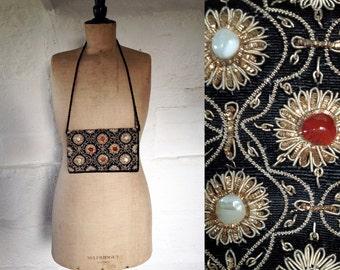 Vintage Jewelled Zardosi Black Velvet Shoulder Bag with Gem Stones / Vintage Handbag / Vintage Zardozi Bag