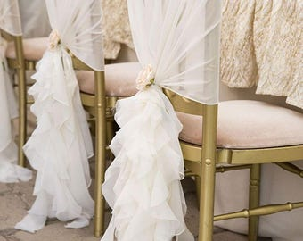Chiffon Ruffle Ceremony Chair Covers - Reception Chairs - Sweetheart Table Chair Decorations