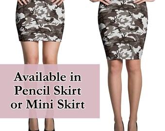 Camo skirt - army print skirt, Printed skirt, mini skirt, pencil skirt, mid rise skirt, camouflage mini skirt, short skirt