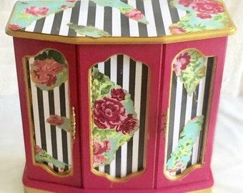 Large Jewelry Box, Jewelry Box Wood, French Apartment, Pink Jewelry Box, Jewelry Storage, Jewelry Armoire