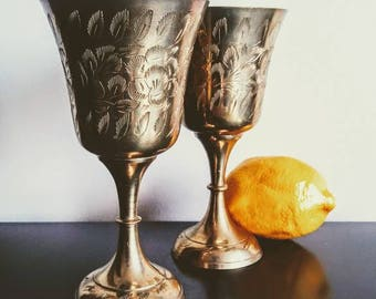 Vintage Brass Wine Glasses Goblets Footed Mid Century Barware Golden Chalice Wedding Hollywood Regency FREE SHIPPING