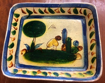 Hand Painted Vintage Mexican Pottery Dish
