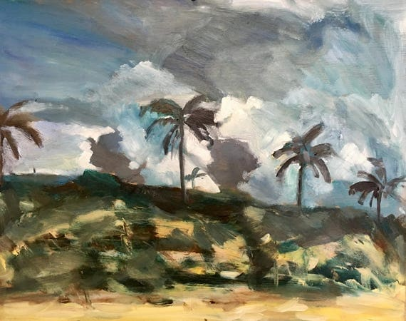 """Sorry, this item is SOLD- Original Oil Painting: Dark Clouds, Palm ,16"""" x 20"""""""