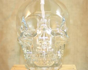 Crystal Skull  Liquor Bottle Soap Dispenser, Lotion Dispenser, Upcycled Crystal Skull Bottle Re-Purposed into Pump