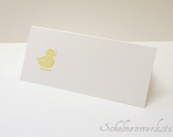 Place card with stamped chick / duck (6 PCs)