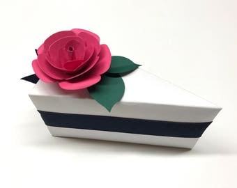 Cake Slice Boxes Navy Blue and Pink Wedding Navy Blue Cake Box Pink Cake Slice Favors Cake Boxes Baby Shower White With Pink