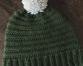 Crochet ribbed stocking hat