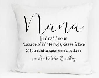 Nana Grandmother custom pilow, family name pillow, housewarming linen, burlap pillow, wedding, gift guide, grandparent, gift