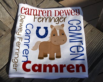 Personalized Horse Baby Blanket - Boy Horseshoe Receiving Blanket - Custom Name Horse Baby Blanket - Newborn Swaddle - Baby Photo Prop