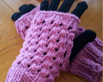 Hand Knitted Lacey Fingerless Gloves, Orchid Pink