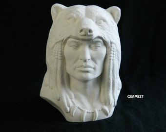 Ceramic Bisque Native Grizzly Spirit Warrior Ready to Paint Provincial Mold 6.5""