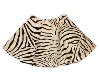 Animal Print Girls Sizes 2 ,3 Velveteen Zebra Skirt