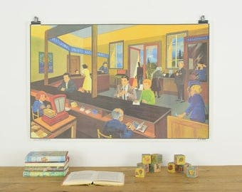 Vintage Double Sided Large  French Classroom Poster Illustrated by G. Bonmati and G. Michel