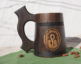 Wooden Beer Mug 0.6 L (20 oz), World of Warcraft Mug, WOW Mug, Tankard, Wooden tankard, Groomsman gift, Father of the groom gift, Beer mug