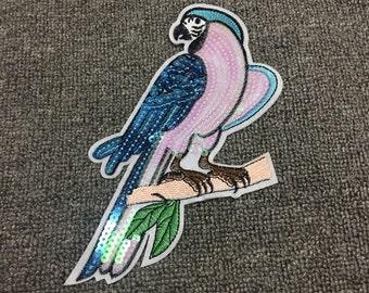 Parrot sequins patch applique vintage paillette patch T-shirt or Coat cartoon decoration patc