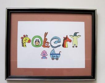 Personalized Baby Shower Gift Custom Baby Name Print Animal Art Nursery Room Decor Baby Name Art Illustration Letter Art Educational Gift