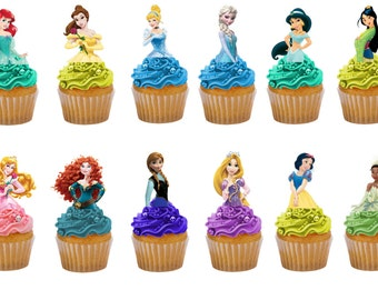 Disney Princesses 24 half body birthday edible stand up cake toppers decorations premium wafer card
