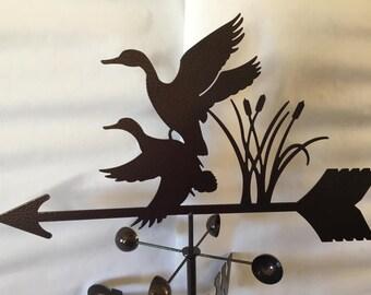 Metal Mallard Ducks Wind Vane, Garden Decor, Garden Art,