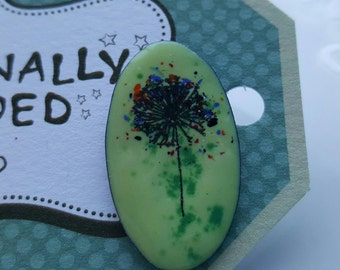 One Of A Kind Pin Brooch, Torch Fired Enamel On Copper. Dandelion, Make A Wish.