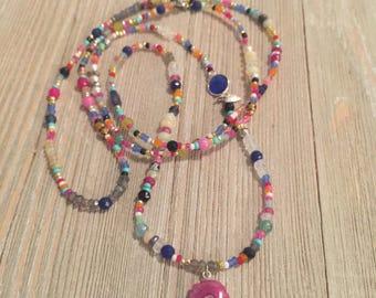 "Multi-gemstone love bead necklace~solar agate~ethiopian opals~moonstone~pearls~labradorite, etc.~17""=34"""