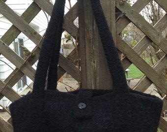 Hand Knit Felted Wool Bag