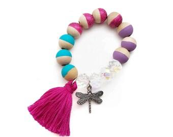 Dragonfly Charm and Tassel Hand Painted Bracelet - Spring Bracelet