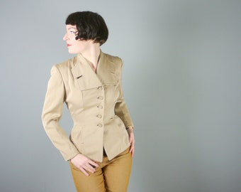 40s SAND coloured fitted jacket with covered BUTTON detail and big COLLAR - tailored look mid century art deco jacket - uk10 / s-m