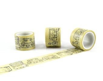 SUITCASE WASHI TAPE - Vintage Suit Case Luggage Pattern Washi Tape (5 Metre Roll)