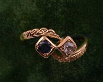 18ct Yellow Gold 1940's Ring With A Sapphire And A Diamond (922k)