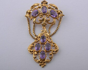 9ct Yellow Gold Pendant / Brooch With Amethysts (894r)