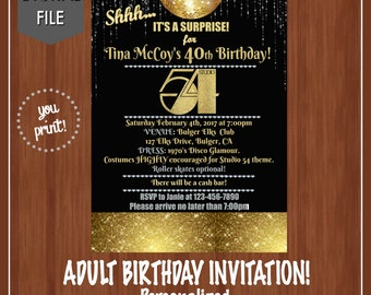 Studio 54 Birthday Party Invitation - Studio 54 Invitation - Fun Adult Birthday Invitation - Disco Themed Party - Surprise Birthday Invite
