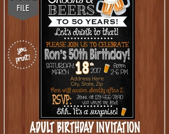 50th Birthday Party Invitation  - Any Age - Digital - Adult Birthday Invitation - Cheers & Beers - Cheers to 50 Years - 50th Birthday