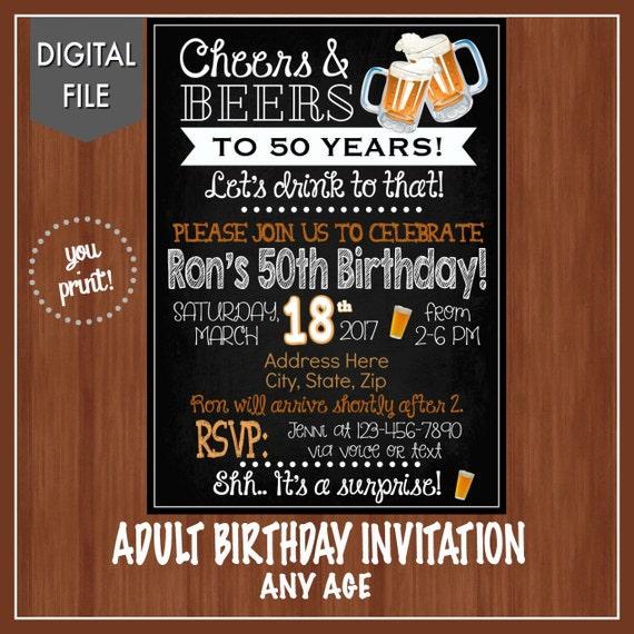 th birthday party invitation any age digital adult, party invitations