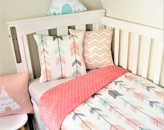 Mint, blush, grey, peach joining arrows, coral minky nursery items