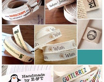 "4 Yards Custom Clothing Labels, Width: 1/2"" (1,3 cm), Cotton Twill Ribbon Labels, fabric tags,  folded or flat, sew on label"