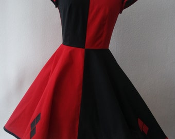 Mad Quinn cosplay dress red and black comic costume circle skirt