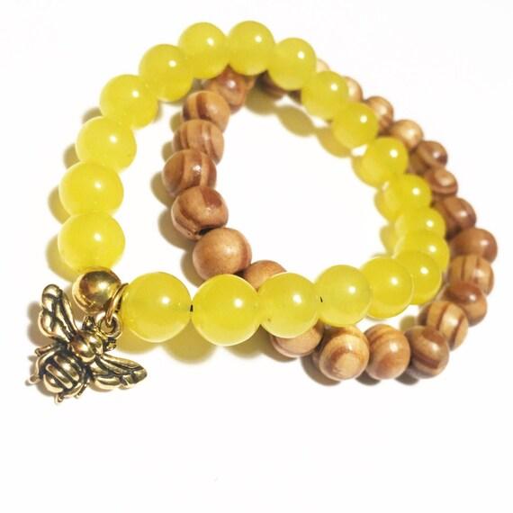 Queen Bee two stack : olive wood,jade, unisex, mens, women's beaded bracelet, mala, meditation, charm