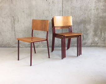 Set of four 1970's Danish Mid century beech and red painted metal stacking chairs