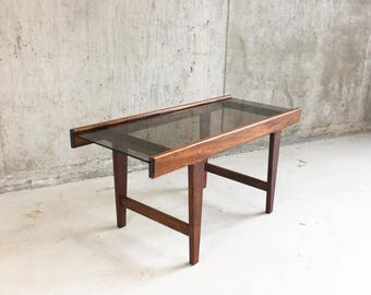 1960's mid century solid oak and glass small coffee table