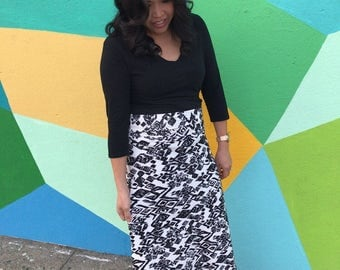 Statement Piece A Line Maxi Skirts. Black/white pictured on left  (small/4)or Black/Multi color pictured on right (medium/8)