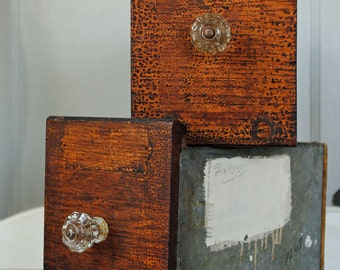 Vintage Shop Drawer with glass knob, metal and wood, industrial drawer, 10 x 5