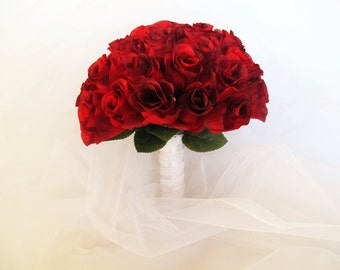 Roses Wedding Bouquet Bridesmaid Bouquets Red Silk Roses White Satin Ribbon Lace Artificial Flowers Bridal Elegant Wedding Elegant