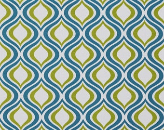 Teal and Light Green Contemporary Geometric Ovals Indoor Outdoor Upholstery Fabric By The Yard | Pattern # A277