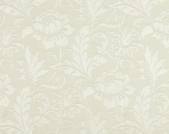 Ivory Two Toned Floral Metallic Sheen Upholstery Fabric By The Yard | Pattern # A0100J