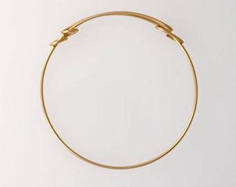 14K Gold Fill 70mm Adjustable Bangle Cuff Bracelet, Unique Design, Made in USA - brac7
