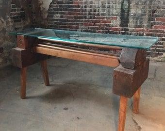 Industrial Credenza Antique Sofa Table Primitive Console