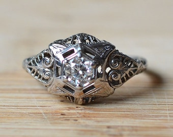 Filigree Diamond Engagement Ring - Vintage 1950s Center Diamond Engagement Ring - 0.27 Carat Diamond 18K White Gold Vintage Ring