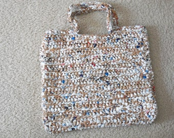 Tote made from recycled plastic bags (plarn). Brown and white...Free shipping!