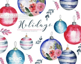 Christmas Balls, with Floral Arrangements watercolor hand painted, clipart, png, red pink flowers, Blog Invitations Greeting Cards
