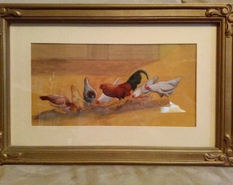 painting original artwork chicken hen rooster farm barn hen house